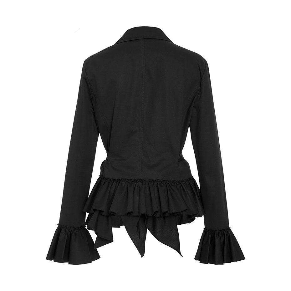 Stylish Lace-Up Bowknot Office Coat - The Black Ravens