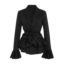 Stylish Lace-Up Bowknot Office Coat-Black-M-