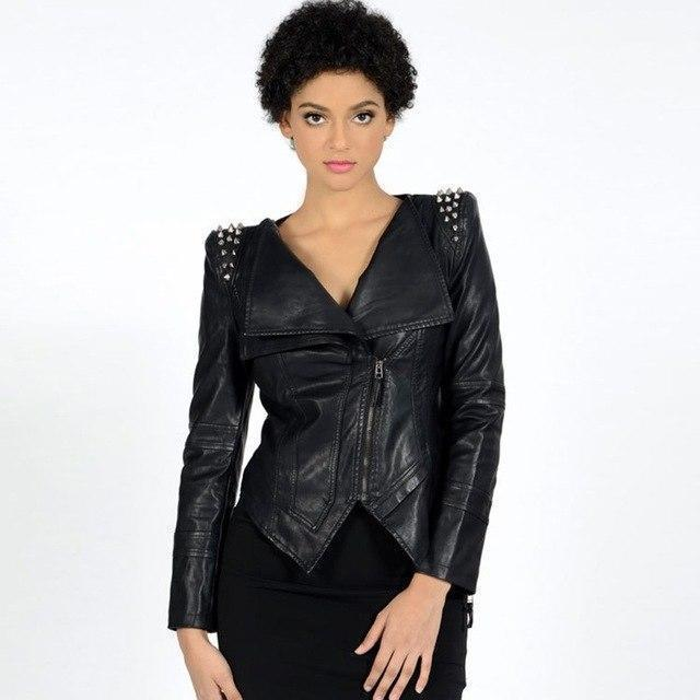 Stylish V-Neck Spiked Leather Jacket-M-