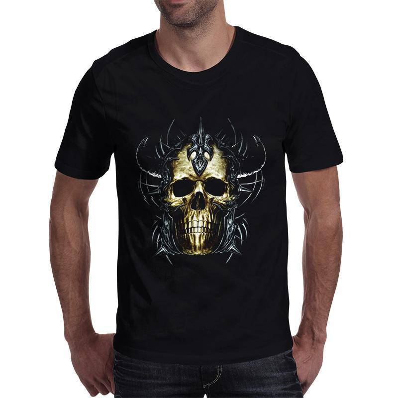 Summer Casual Short Sleeve Punk Skull Top-Black-S-