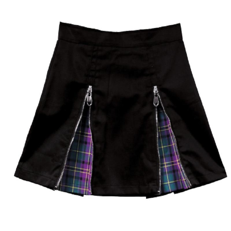 Summer Punk Plaid Mini Skirt-L-