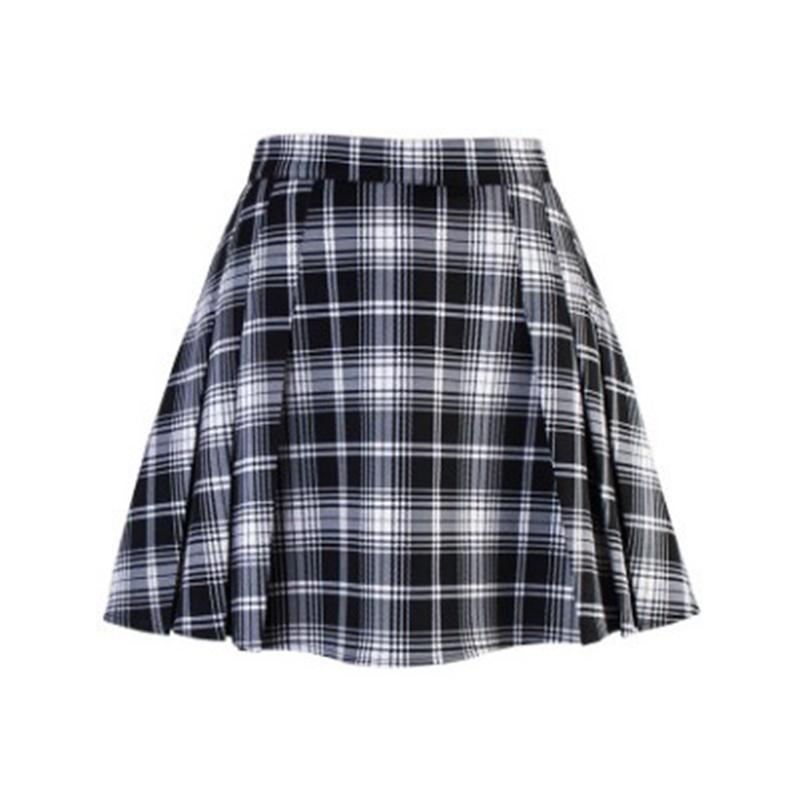 Summer Punk Pleated Ladies Mini Skirt-Black-S-