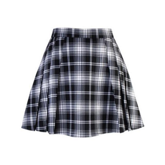 Summer Punk Pleated Ladies Mini Skirt-Black-XL-