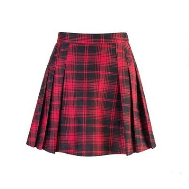 Summer Punk Pleated Ladies Mini Skirt-Red-XL-