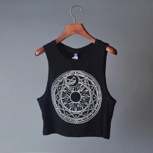 Sun Moon Pentagram Ladies Cami-Black-L-