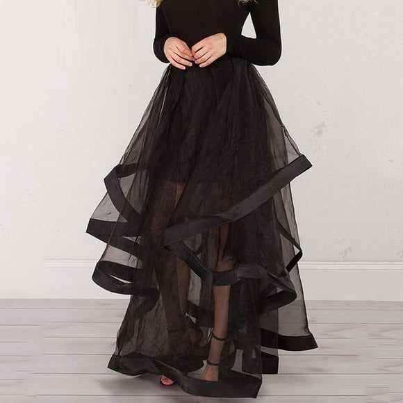 Super Long See-Through Palace Skirt-Black-M-
