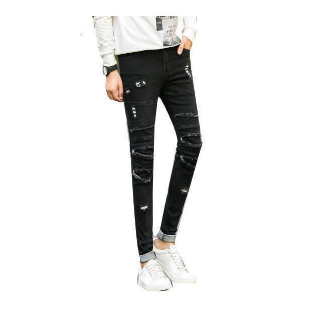 Super Slim Fit Emo Denim Pants For Men-Black-28-