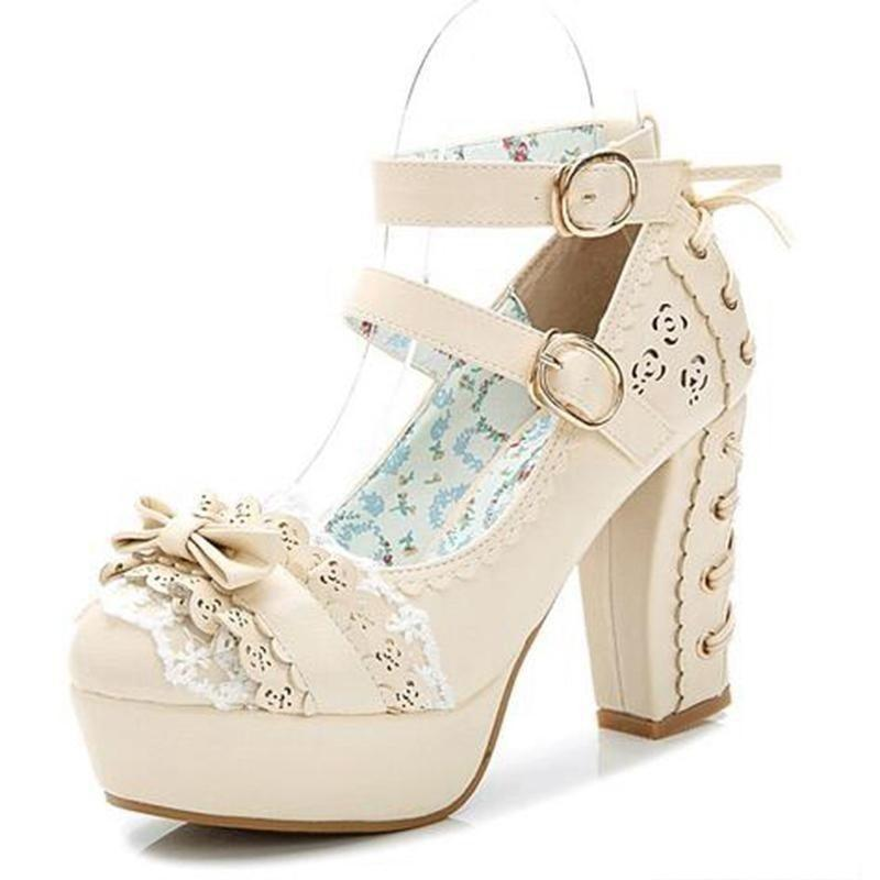 Sweet Bow Lace Candy Princess Lolita Boots-Beige-5-