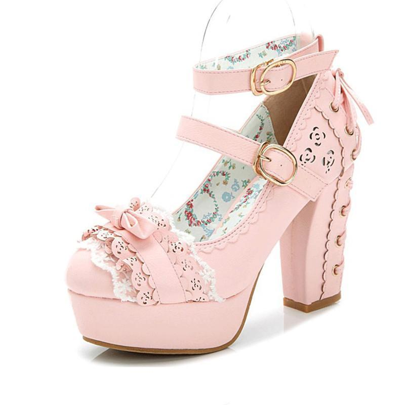 Sweet Bow Lace Candy Princess Lolita Boots-Pink-5-