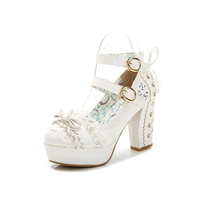 Sweet Bow Lace Candy Princess Lolita Boots-White-5-