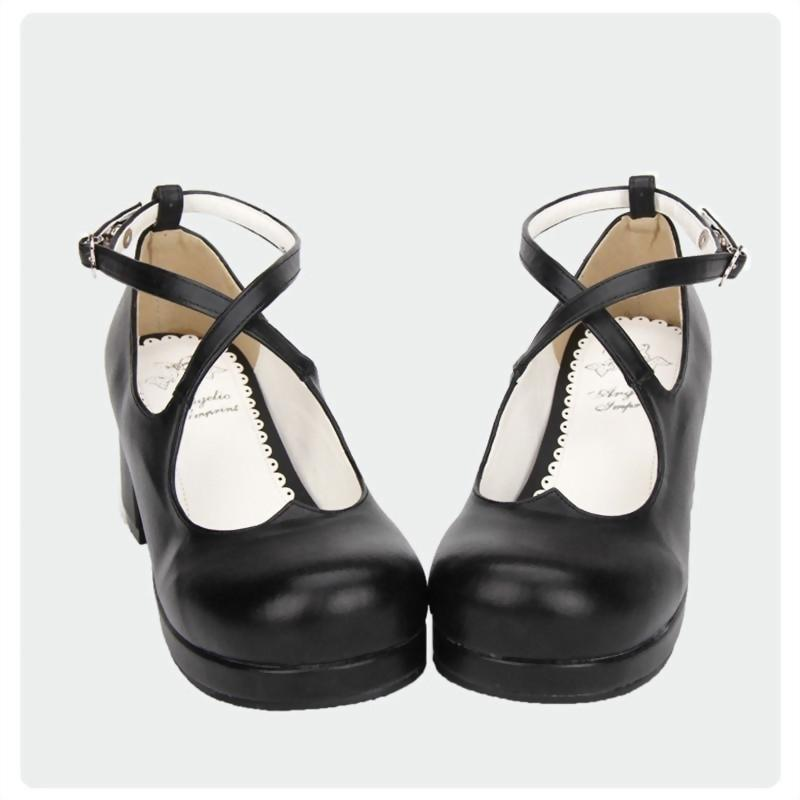 Sweet-Heart Criss Cross Ankle Strap Lolita Shoes-Black-5-