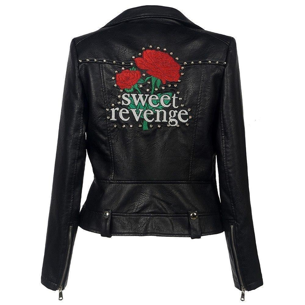 Sweet Revenge Punk Leather Jacket-S-