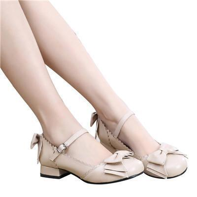 Sweet Tiny Lolita Block Low Heel Shoes-Beige-5-