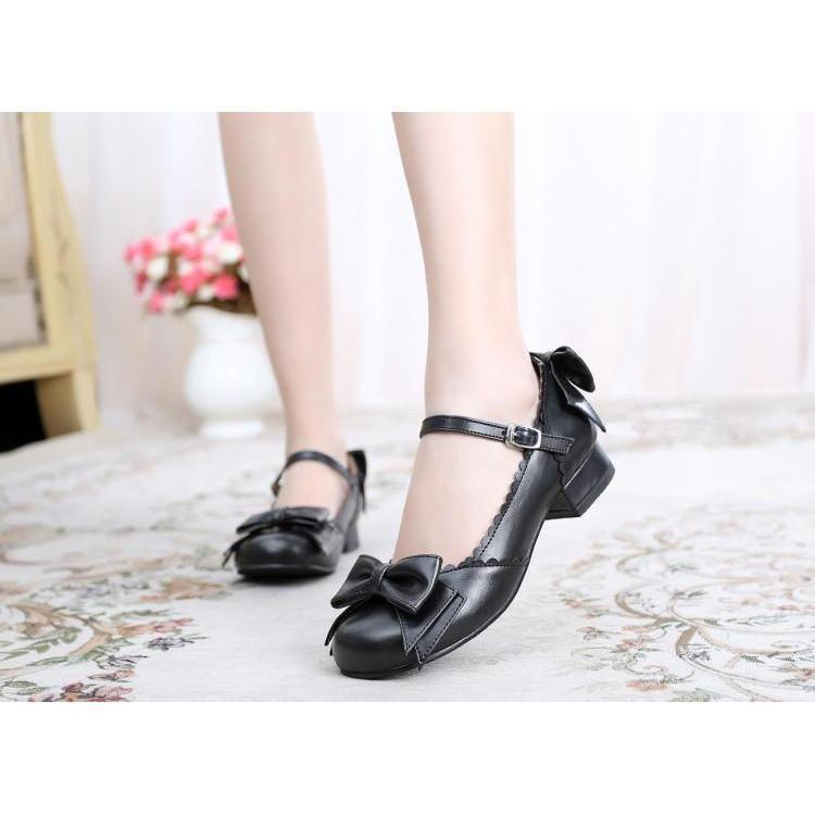 Sweet Tiny Lolita Block Low Heel Shoes-Black-5-
