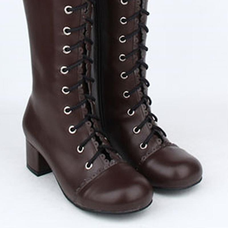 Tall Vintage High Heel Lace Up Lolita Boots - The Black Ravens