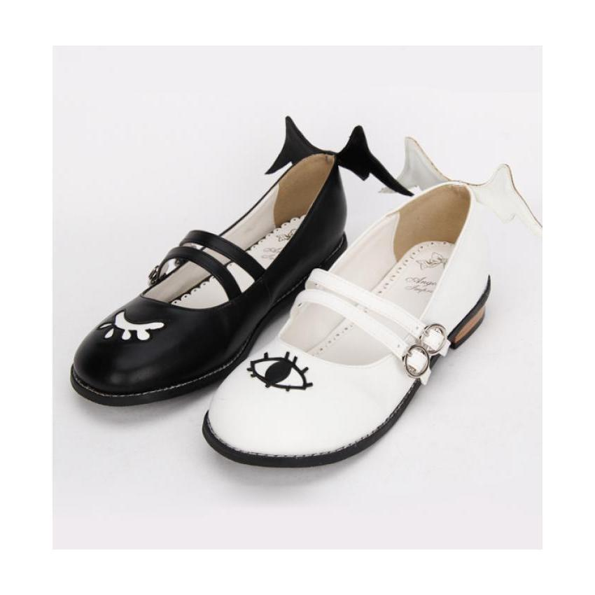 The Devil and Angels Eye Winged Lolita Shoes-Black & White-5-