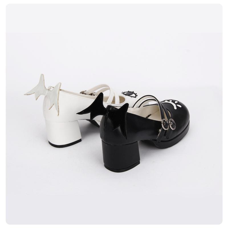 The Devil and Angels Eye Winged Lolita Shoes - The Black Ravens