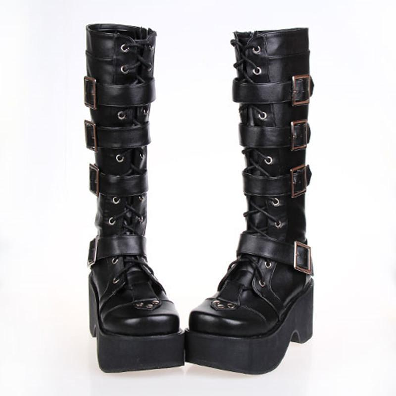 Thick Leather Gothic And Punk Buckle Boots-Black-5-