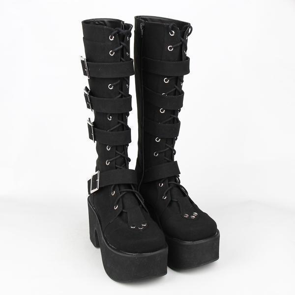 Thick Leather Gothic And Punk Buckle Boots-Black Velvet-5-
