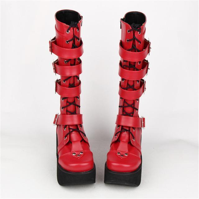 Thick Leather Gothic And Punk Buckle Boots