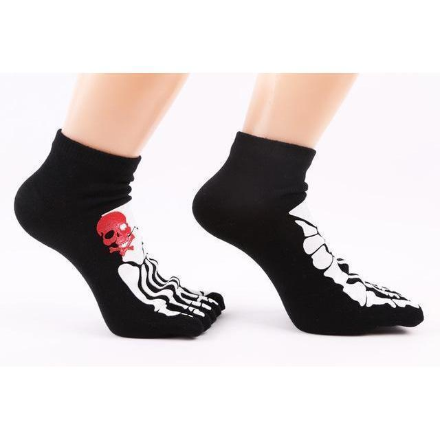 Thick Unisex Skeleton Print Cotton Knitted Foot Gloves-Black-OneSize-