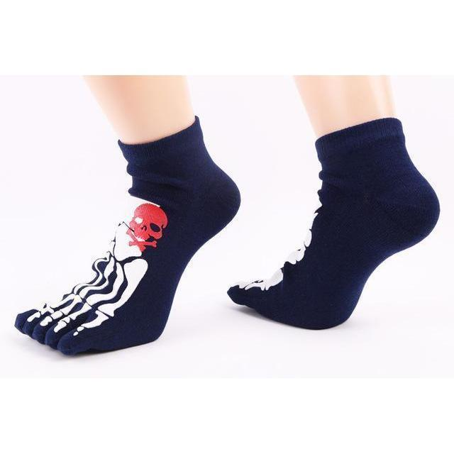 Thick Unisex Skeleton Print Cotton Knitted Foot Gloves-DarkBlue-OneSize-