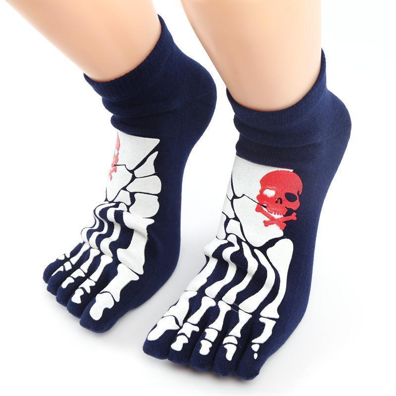 Thick Unisex Skeleton Print Cotton Knitted Foot Gloves-DarkGray-OneSize-