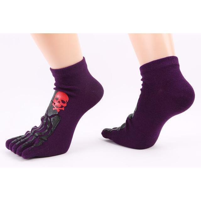Thick Unisex Skeleton Print Cotton Knitted Foot Gloves-Purple-OneSize-