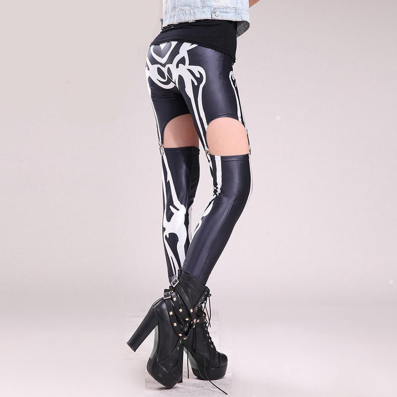 Thin Skeleton Print Punk Leggings-