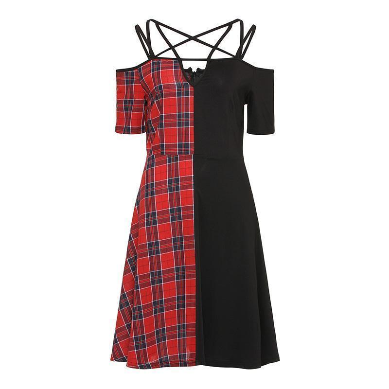 Two-Tone Ladies' Tartan Black Vintage Dress - The Black Ravens