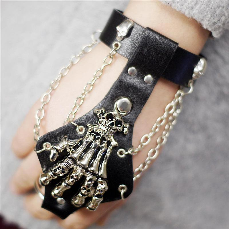 Unisex Cool Punk Skeleton Hand Genuine Leather Wristband - The Black Ravens