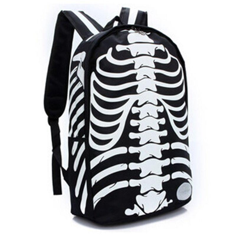 Unisex Emo Rocker Skeletons Back Bags-Black-