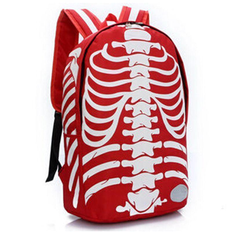 Unisex Emo Rocker Skeletons Back Bags-Red-