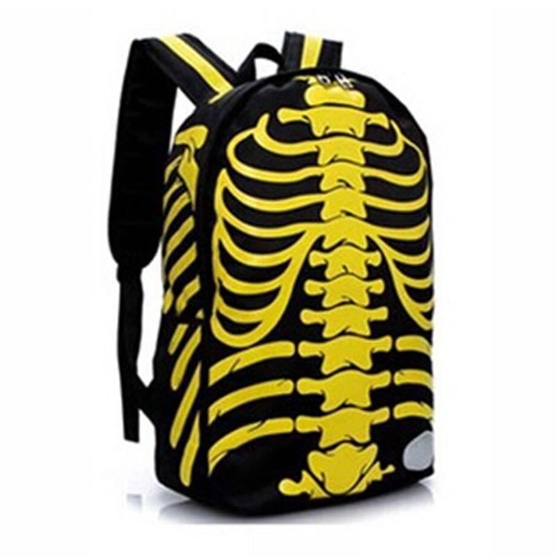 Unisex Emo Rocker Skeletons Back Bags-Yellow-
