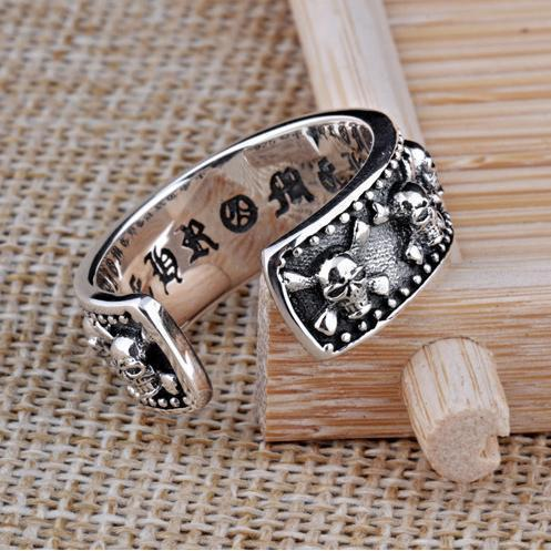 Unisex Real Silver Alternative Skull and Skeletons Ring - The Black Ravens