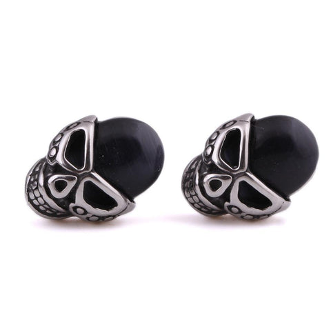 Unisex Stainless Steel Natural Stone Earring Skulls-