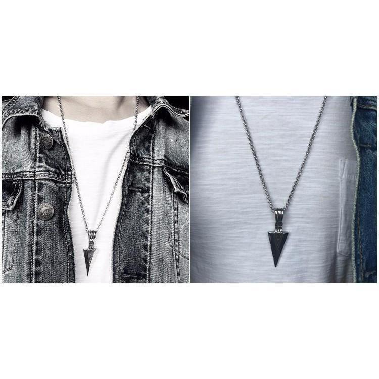 Unisex Triangular Spearhead Necklaces-Silver-
