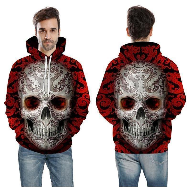 Unmissable Blue and Red Skull Hoodie - The Black Ravens