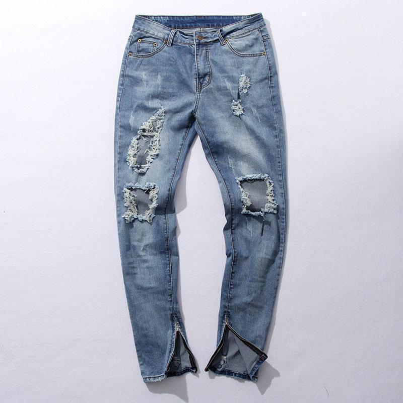 Urban Men's Ripped Zipper Jeans For Men-Blue-28-