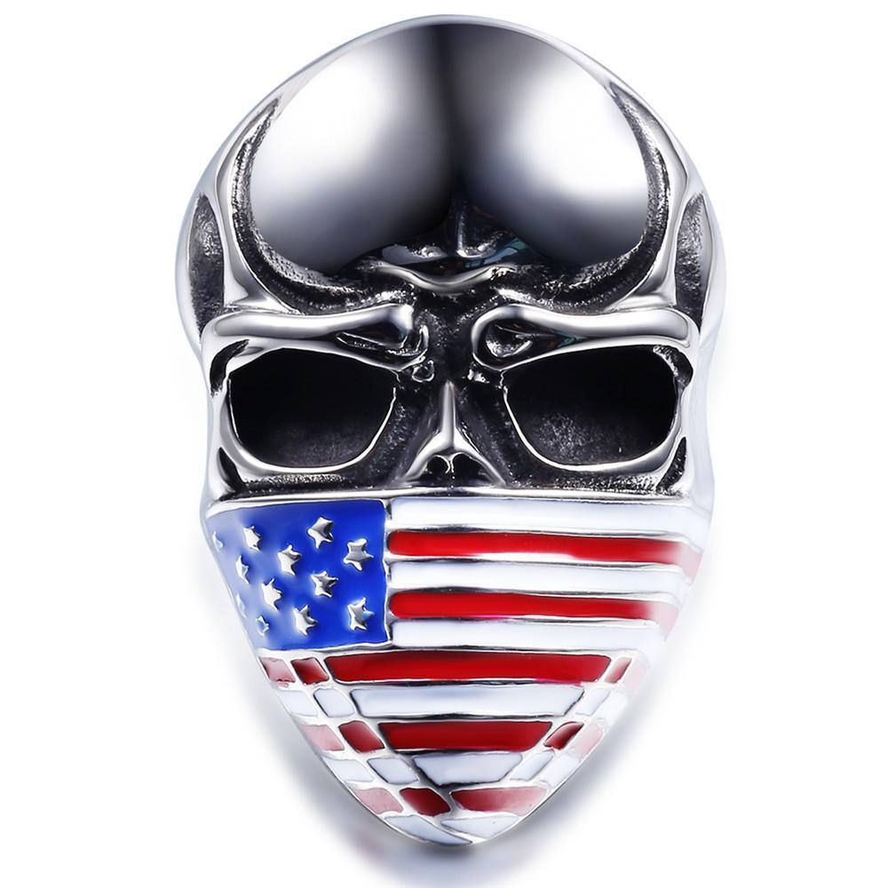 USA Skull Rings For Men-7-Multi Colour-