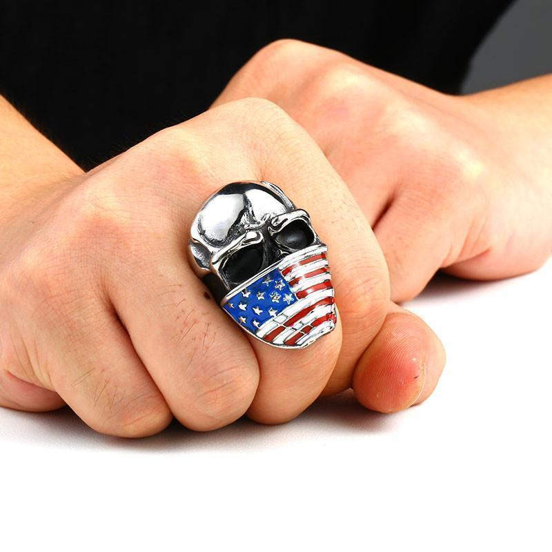 USA Skull Rings For Men - The Black Ravens