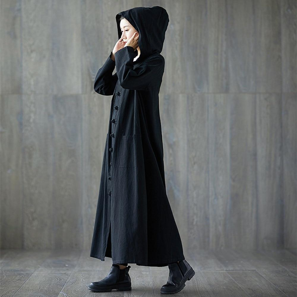 Vampire Fashion Long Overcoat-Black-