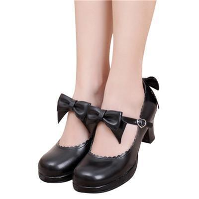 Vampire Princess Faux Leather Bowtie Shoes - The Black Ravens