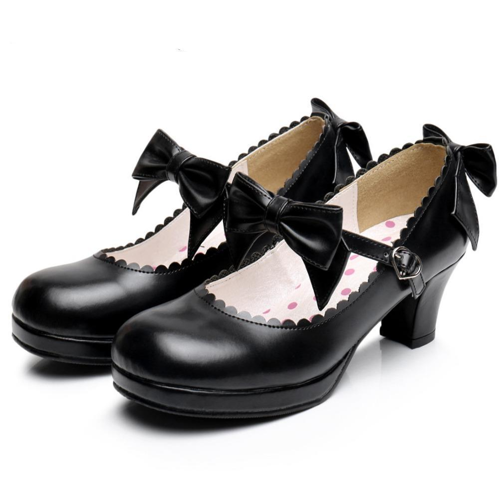 Vampire Princess Faux Leather Bowtie Shoes-Black-4-