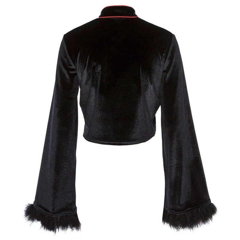 Velvet Chinese Flare Sleeves Crop Top - The Black Ravens