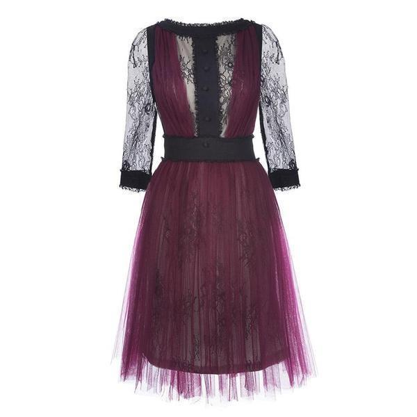 Vintage Casual Lace Purple Dress - The Black Ravens