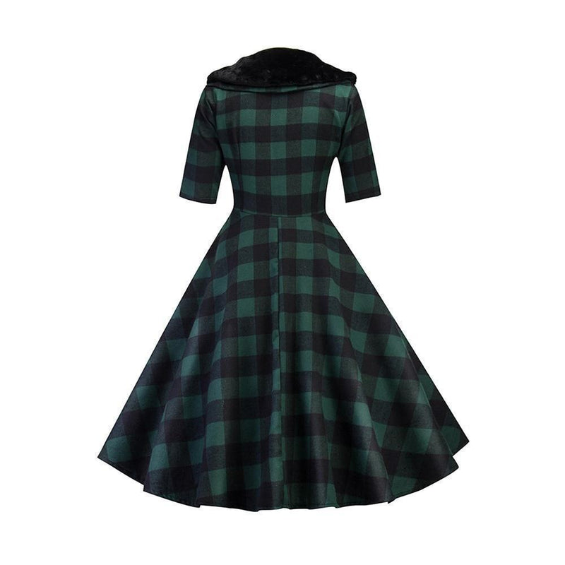 Vintage Chic Ladies' Plaid Dress - The Black Ravens