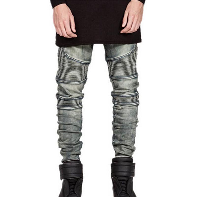 Vintage Elastic Denim Biker Jeans For Men-Black-28-