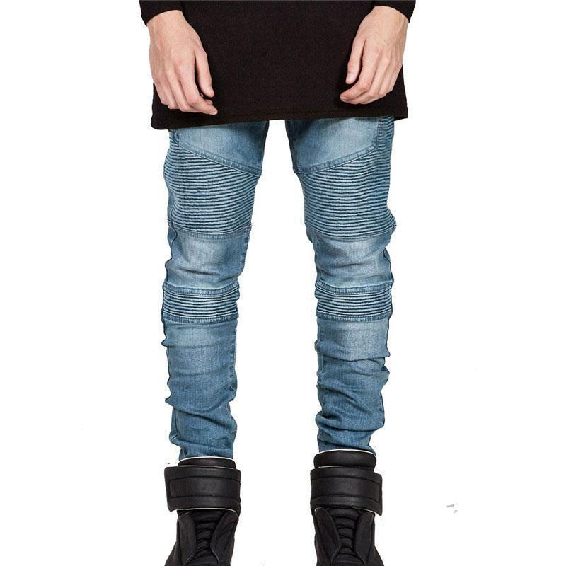 Vintage Elastic Denim Biker Jeans For Men-Blue-28-