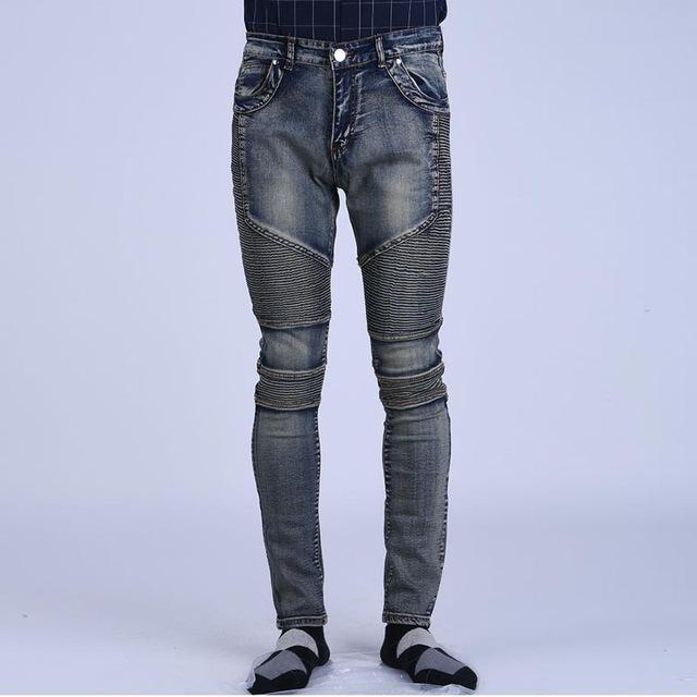 Vintage Elastic Denim Biker Jeans For Men-Greyb-28-